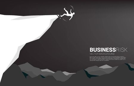 silhouette of businessman slip and falling down from the cliff. Concept for fail and accidental business Illusztráció