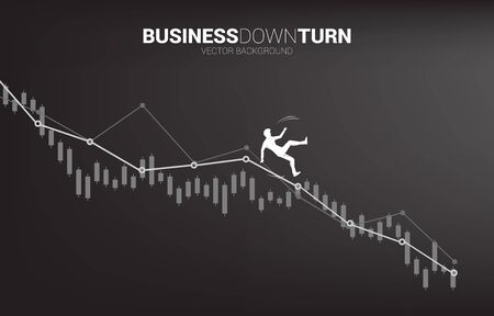 silhouette of businessman slip and falling down from downturn graph. Concept for fail and accidental business