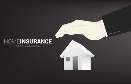 3D home icon with businessman hand cover from the top. Concept of home insurance business and house protection. Ilustracja