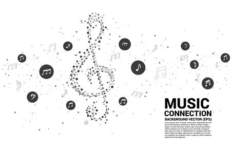 Vector sol music key note from dot connect line. Concept background for song and concert theme.
