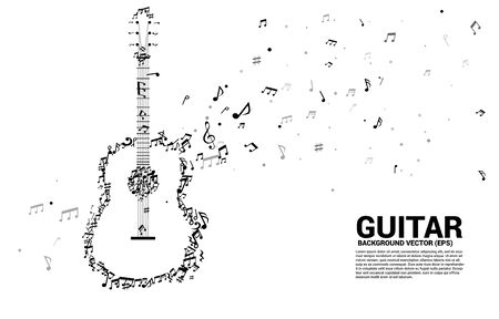 Vector music melody note dancing flow shape guitar icon . Concept background for song and guitar concert theme.