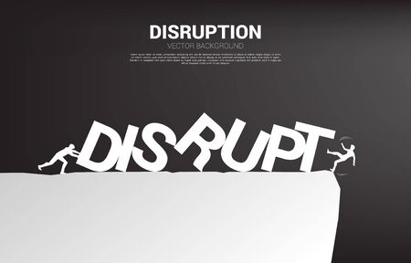 Silhouette of businessman pushing to collapse domino to another businessman falling from the cliff. business concept of business disruption and domino effect