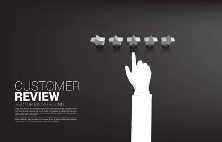 Silhouette businessman touch rating star. concept for customer review and client rating ranking. Çizim