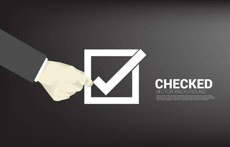 Silhouette businessman hold check box. concept for election vote theme background.