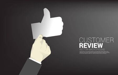 Silhouette businessman hold thumb up icon. concept of customer satisfaction, client rating and ranking.