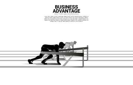 Business concept of competition and business advantage. Silhouette of businessman ready to run from start line with catapult sling shot on racing track. Illustration