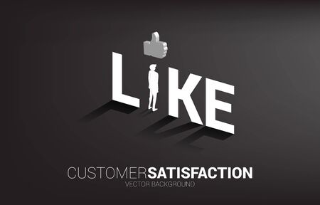 Silhouette businessman standing with 3D thumb up icon in like wording. concept of customer satisfaction, client rating and ranking.