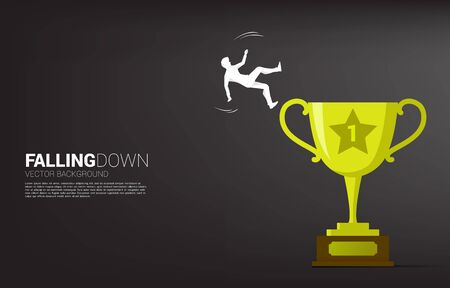 silhouette of businessman falling from trophy. Concept for fail and accidental business Illusztráció
