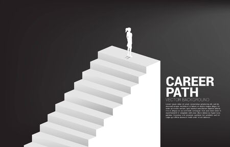 Silhouette of businesswoman standing on top of stair. Concept of people ready to up level of career and business. Ilustracja