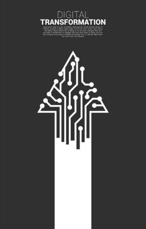 Pfeillinie vom Punktverbindungsleitungskreis. Konzept der digitalen Transformation des Geschäfts.