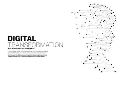 Vektorsilhouette des Mannkopfes vom Punkt verbinden Linie Leiterplattenart. Konzepthintergrund menschliche Zukunft und Technologie Vektorgrafik