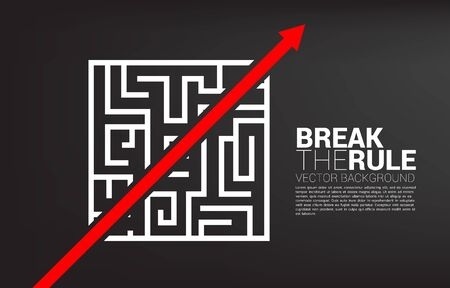Red arrow route break out of maze. Business concept for problem solving and solution strategy.