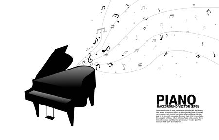 Vector grand piano with music melody note dancing flow. Concept background for song and concert theme.