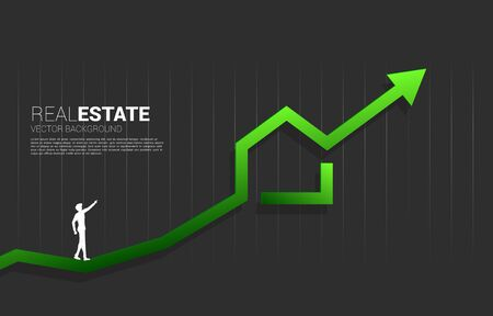 silhouette of businessman point up to green home icon with Growing graph. Concept of success investment and growth in real estate business