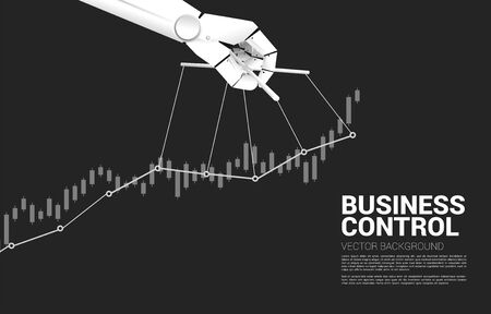 Robot Puppet Master controlling business growing graph. Concept of age of A.i. manipulation . Vetores