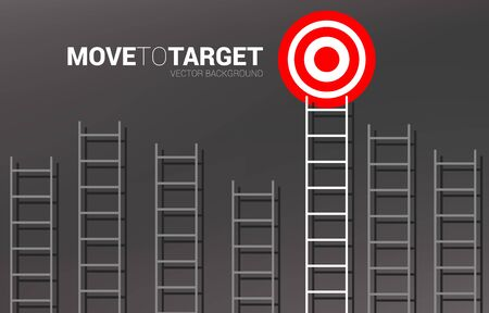 Group of ladder with the one to target. Business concept for competition and goal achievement.