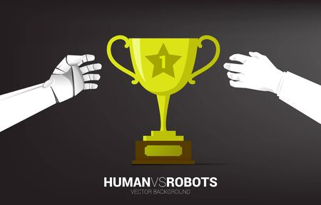 Close up championship trophy with businessman and robot hand try to reach. Business concept for age of robot and AI artificial intelligence. Competition of human and machine. Ilustração