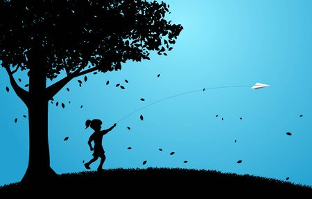 silhouette of girl running to throw out origami paper airplane under big tree. Concept of children play and learn.
