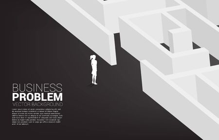 Silhouette of businesswoman ready to enter to maze. Business concept for problem solving and solution strategy