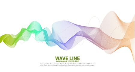 green orange Sound wave line curve on white background. Element for theme technology futuristic vector