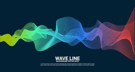 green orange Sound wave line curve on dark background. Element for theme technology futuristic vector Ilustração