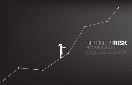 Silhouette of businesswoman walking on rope walk way up to growth line graph.Concept for business risk and career path