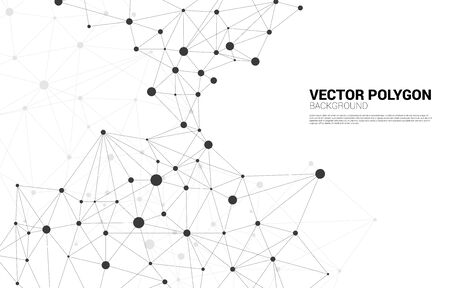 Network Connecting dot polygon background. Concept of Network Business, technology, Data and chemical. Dot connect line abstract background represent futuristic network and data transformation