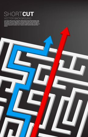 red arrow short cut route break out of maze and blue route find way out. Business concept for problem solving and shortcut solution strategy.