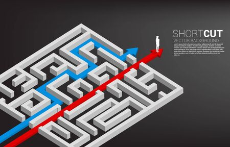 Businessman standing on red arrow route break out of maze. Business concept for problem solving and shortcut solution strategy. Illustration
