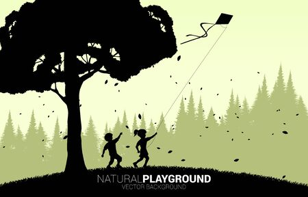 silhouette of boy and girl running with flying kite in the sky with big tree. Concept of children play and learn in natural.