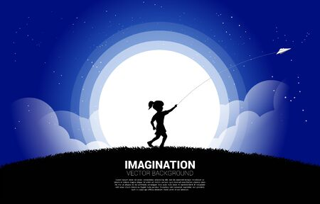 silhouette of girl running to throw out origami paper airplane at night. Concept of children play and learn.