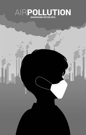 Silhouette man head with mask and smoke from city and factory. Concept for Air pollution and environment crisis. Çizim