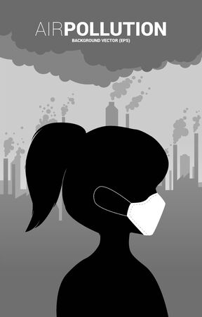 Silhouette woman head with mask and smoke from city and factory. Concept for Air pollution and environment crisis.
