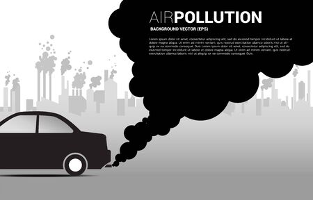 Black Smoke from car exhaust pipe and industrial building background. Concept for Air pollution and environment crisis.