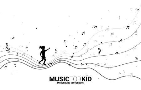 Siluetta di vettore della ragazza che corre con la nota musicale di forma di flusso di danza. Musica di sottofondo concettuale per bambini e ragazzi.