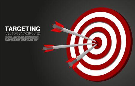 tiro con l'arco freccia colpito al centro del bersaglio. Concetto aziendale di obiettivo di marketing e cliente. Missione e obiettivo della visione aziendale.