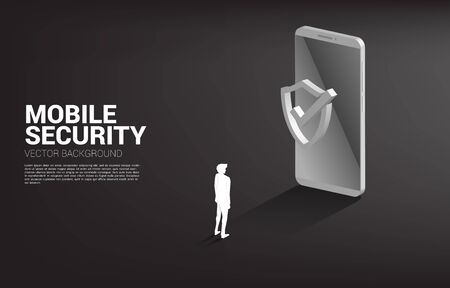 Businessman with mobile phone and Protection shield icon. concept of mobile guard security and cyber safety Illusztráció