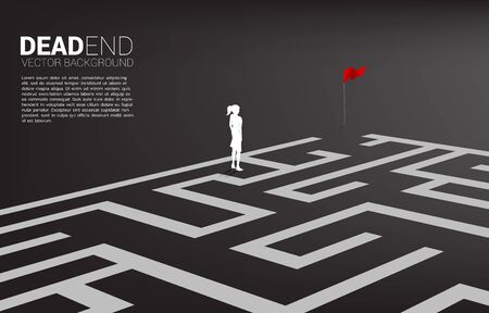 Silhouette of businesswoman at dead end of maze. Business concept for problem and wrong decision. Illustration
