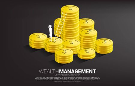 Silhouette of businesswoman standing with stack of coin and ladder. Concept of success investment and growth in business