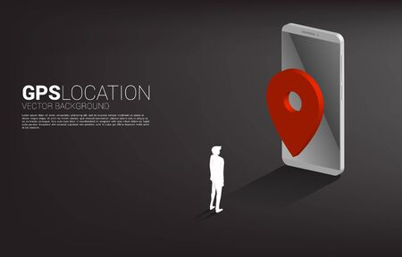 silhouette of businessman with 3D GPS pin marker and mobile phone. concept of location and facility place, GPS technology