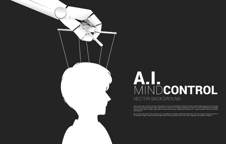 Robot Puppet Master controlling Silhouette of businessman head. Concept of age of A.i. manipulation. Human vs. Machine. Ilustração