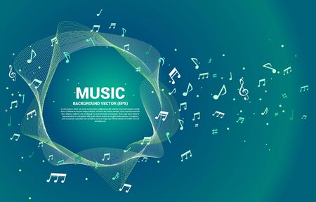 Vector template music melody note dancing flow . Concept background for song and concert theme.