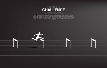 Silhouette businessman jumping across hurdles obstacle. Background concept for Obstacle and challenge in business Illustration