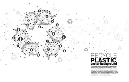 Recycle icon from dot connect line polygon network. background for take care and save the environment. Ilustrace