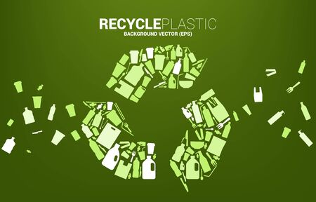 Recycle icon from plastic package and product icon. background for take care and save the environment. Ilustrace