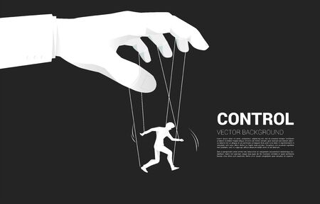 Puppet Master controlling Silhouette of businessman. Concept of manipulation and micromanagement Vector Illustratie