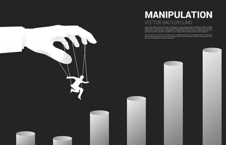 Puppet Master controlling Silhouette of businessman to jumping to higher chart. Concept of manipulation and micromanagement