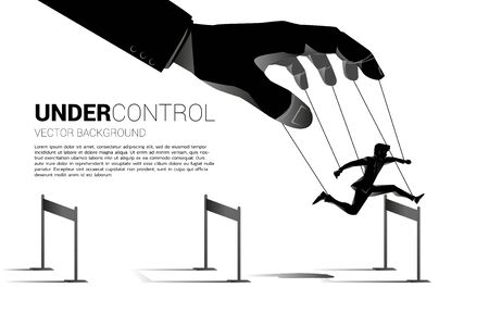 Puppet Master controlling Silhouette of businessman run and jumping across hurdles obstacle. Concept of manipulation and micromanagement Vettoriali