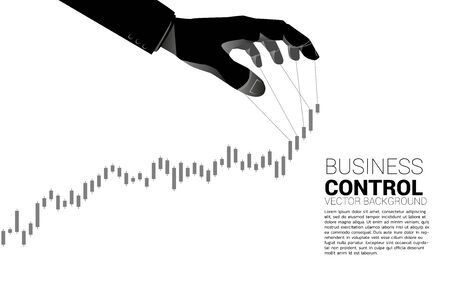 Puppet Master controlling business growing graph. Concept of manipulation and market control.