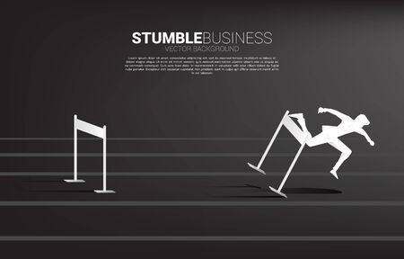 Silhouette of businessman stumbling during across hurdles obstacle. Concept for fail and accidental business